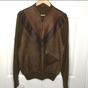 Vintage Italian Leather Wool Sweater Pullover